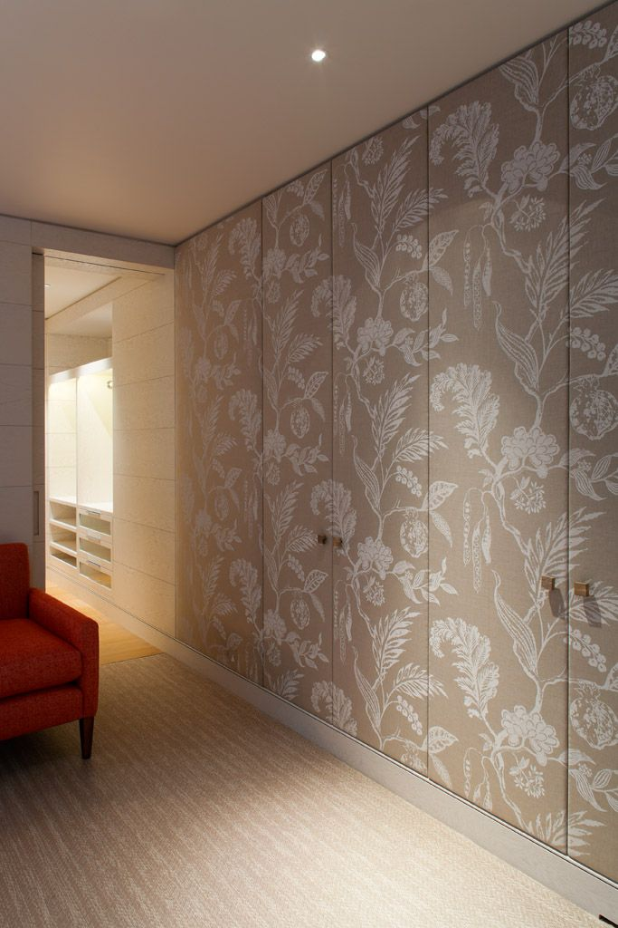 Another idea for dressing room. Ignore pattern of fabric but think about the idea. Fabric covered doors are more practical than wallpaper covered. More expensive than wallpaper but less than De Gournay. We could use any fabric - patterned or plain. V good for sound insulation and would stop the dressing room looking too boring with all those cupboards and much softer. Very keen on this idea !