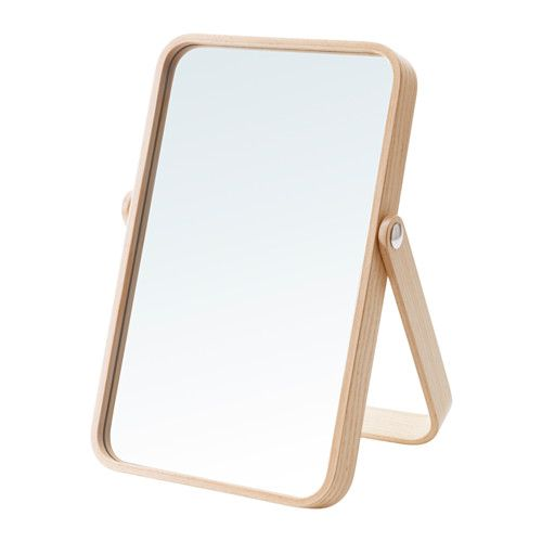 IKEA - IKORNNES, Table mirror, , The mirror can be placed on a table or chest of drawers, or hung on the wall.If you choose to hang the mirror on the wall, you can use the stand as a hanger for scarves and ties.Suitable for use in most rooms, and tested and approved for bathroom use.Safety film  reduces damage if glass is broken.