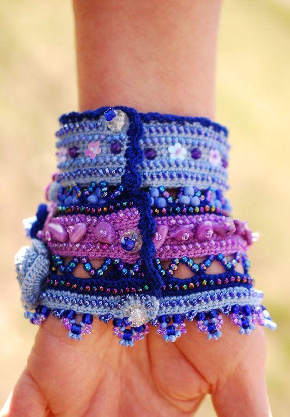 Blue Purple Pink handmade crochet cuff with by KaterinaDimitrova