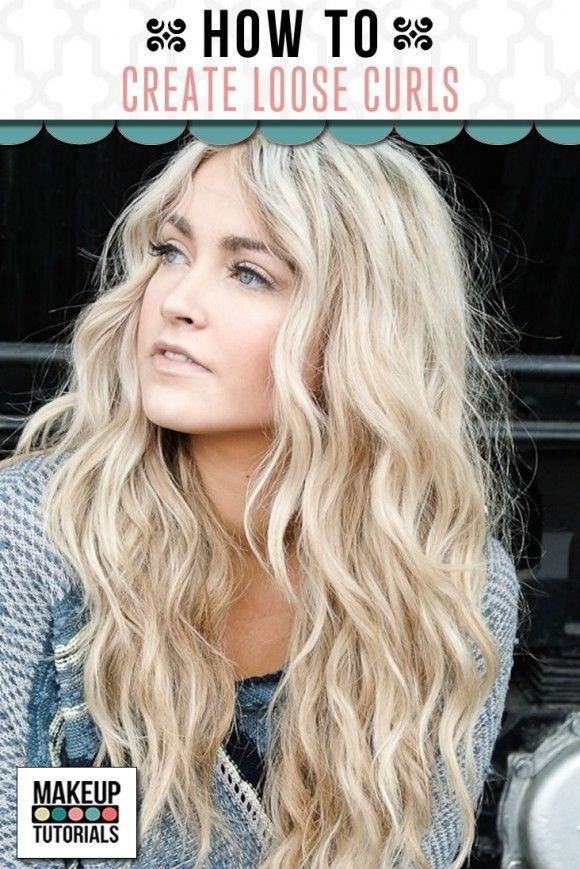 Hair tutorial on how to create loose curls hairstyle. | http://makeuptutorials.com/create-loose-curls-hair-tutorial/