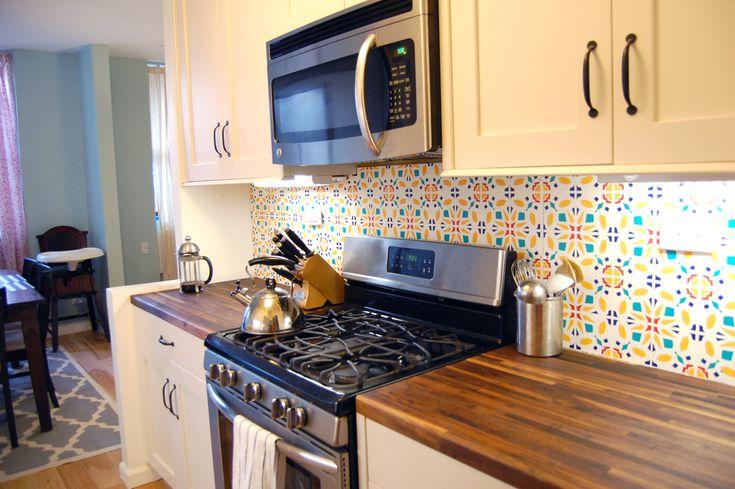 DIY custom designed vinyl tile backsplash for rentals
