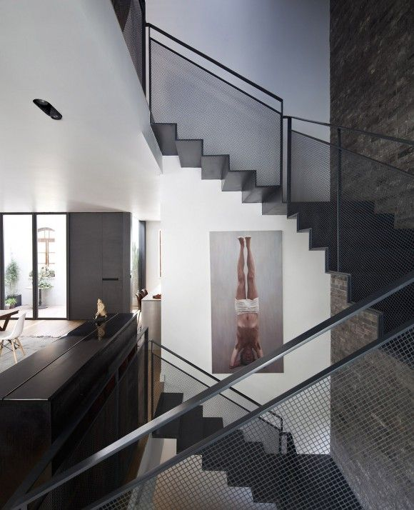 texture stee staircase modern industrial brick art architecture Japanese Trash masculine design inspiration