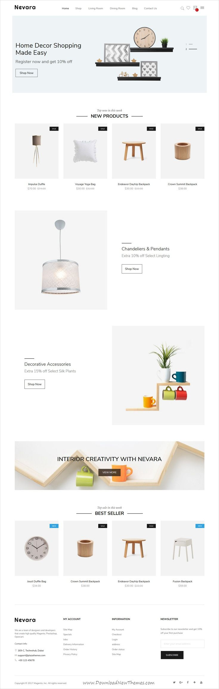 Nevara is clean and modern design 4in1 responsive #Magento 2 theme for awesome #furniture, #decor and #interior shop eCommerce website download now..