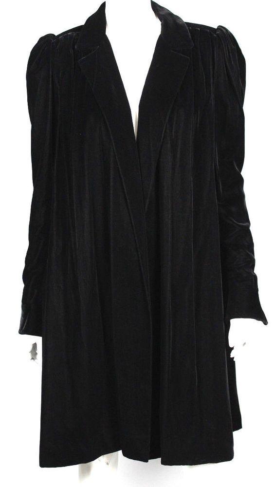 JEAN LOUIS SCHERRER Vintage Black Velvet Puff-Shoulder Coat 36  | eBay
