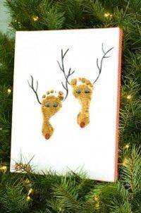 Footprint Reindeer- I'd cut them out and laminate them as little ornaments to give away :-)