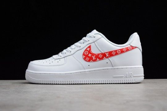 buy online 8b314 53bb7 Custom Supreme x Louis Vuitton LV Nike Air Force 1 Low White