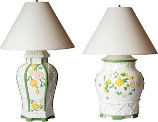 Painted Palm Beach-Style Lamps, Pair on onekingslane.com/shop/madcapcottage