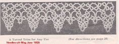 """A Tatted Trim for Any Use"" by Anna Hoskins  Needlecraft June 1925 pages 12, and 25.  Updated instructions"