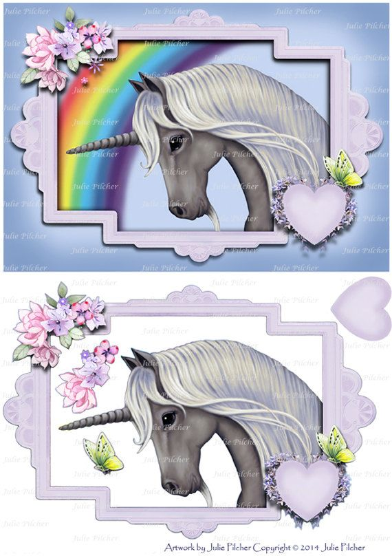 Instant Digital Download  Digi Card Topper  Unicorn