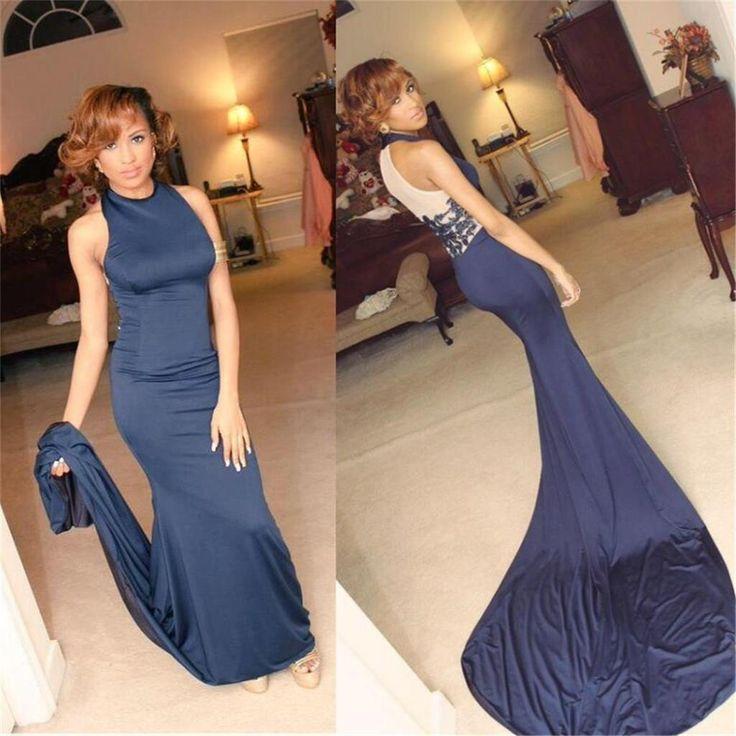 High Neck Prom Dresses,Blue Prom Dresses,Mermaid Prom Dresses, Sexy Pr – SposaDesses