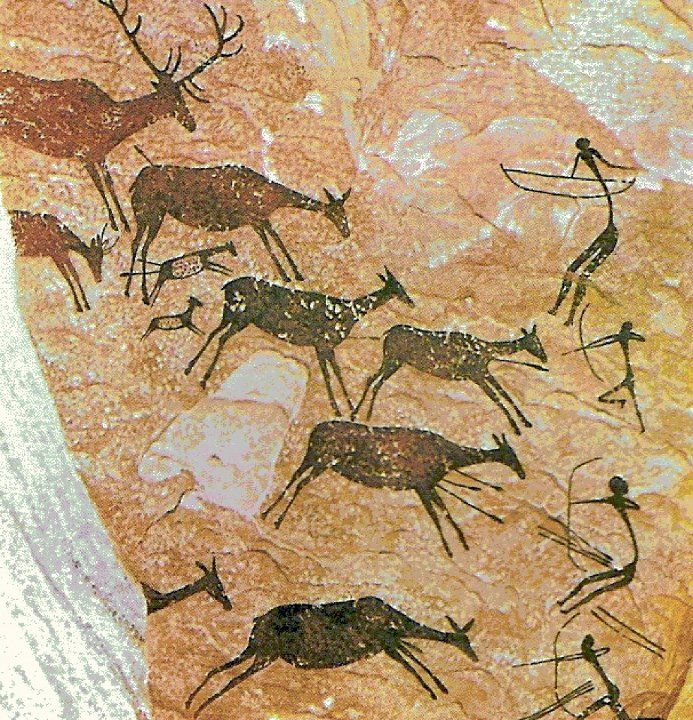Prehistoric Cave painting | 35000 years ago | Ancient Art History, scene from petroglyphs in Kakadu National Park, in Northern Australia.