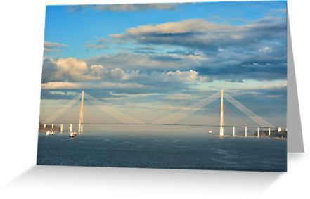 The Russky Bridge and clouds by Mariia Kalinichenko. / The Russky Bridge is a bridge built across the Eastern Bosphorus strait. The bridge connects the mainland part of the Vladivostok city (Nazimov peninsula) with Russky Island. Total bridge length: 1885.53 m / Total length incl. trestles: 3100 m / Central channel span length: 1104 m • Also buy this artwork on stationery, apparel, stickers, and more.