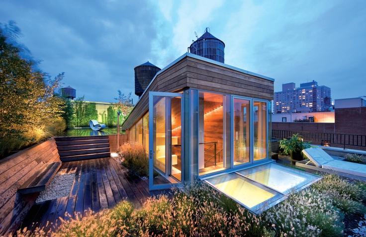 Broadway Penthouse  #archello #architecture #building #penthouse #house #homeRooftops Gardens, Roof Decks, Joel Sander, New York Cities, Gardens Oasis, Roof Terraces, Architecture, Roof Gardens, Design