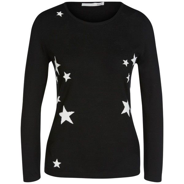 Oui Fine Knit Star Jumper, Black/White featuring polyvore women's fashion clothing tops sweaters long jumpers long sleeve jumper star jumper long cotton sweater star sweater