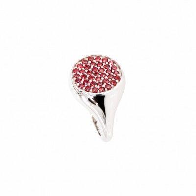 Anello da mignolo in argento con cubic zirconia rossi