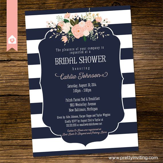 10 best shower ideas images on pinterest invitations wedding bridal shower invitation elegant navy blue by prettyinvitingprints more filmwisefo Image collections