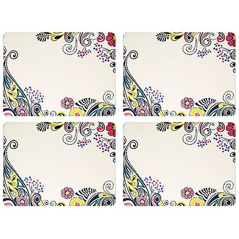 Brilliantly bright paisley print borders these classic cream placemats from Denby 'Monsoon Cosmic'. A dinner party talking point with an easy wipe clean surface.