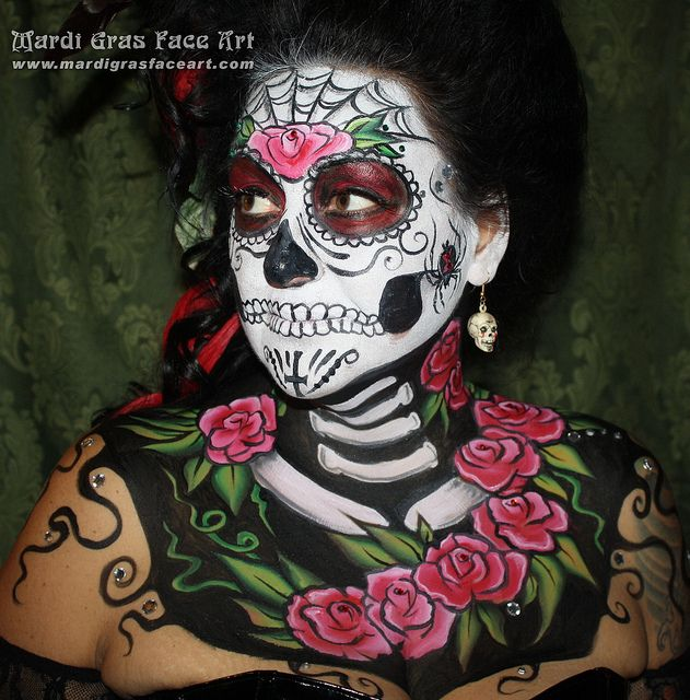 Sugar skull face paint day of the dead winnipeg tattoo by hennajunkie95, via Flickr