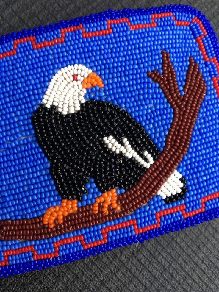Super Eagle Indian Native American Beaded Belt Buckle