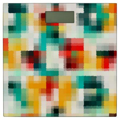 Red Blue Green Yellow White Abstract Pattern Bathroom Scale - chic design idea diy elegant beautiful stylish modern exclusive trendy