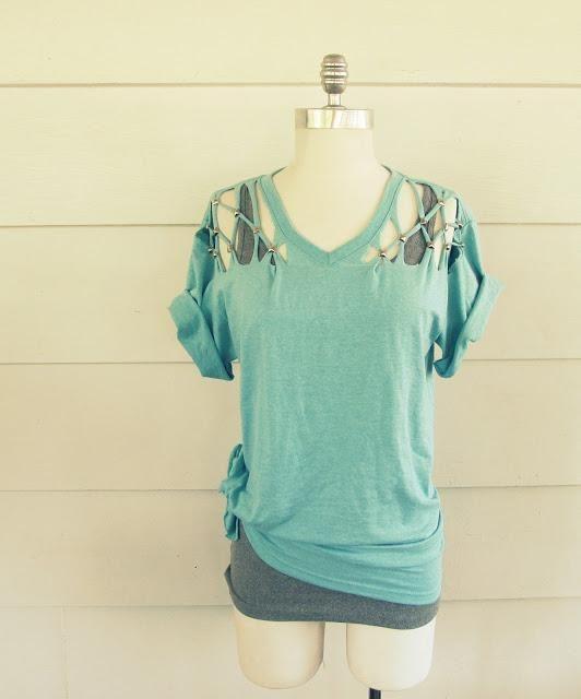 DIY Clothes DIY Refashion DIY. No Sew, Lattice, Stud T ...