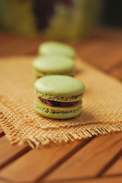Green tea macarons with red bean filling