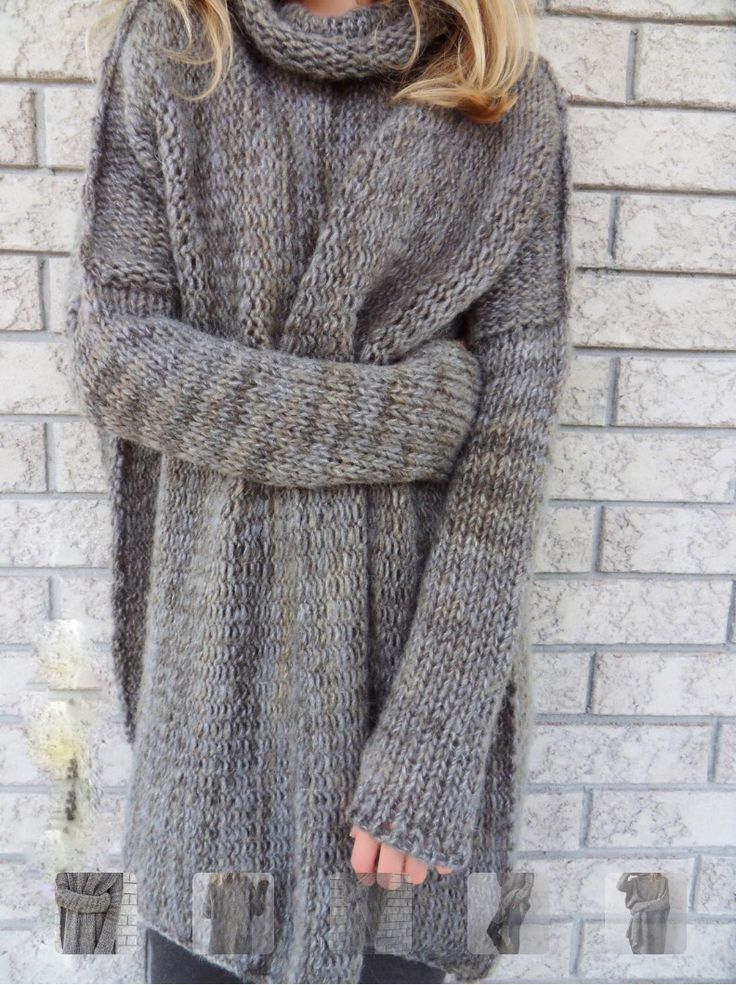Chunky Knit Mock Neck Grey Sweater Loose Knit Sweaters