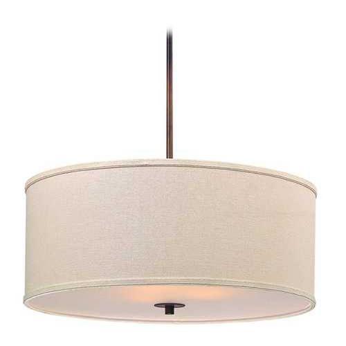 Remington Bronze Drum Pendant Light with Cream Linen Shade at Destination Lighting $149 eating area
