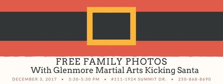 Christmas Photos with our Kicking Santa! Can't wait to see everyone there. 😊 Remember, donation of a non-perishable food item for the Kelowna Community Food Bank is required and greatly appreciated.  Photos will be taken and distributed by DKScott Photography Kelowna.  #santa #santaphoto #christmas #familyphoto #kelowna #glenmoremartialarts #martialarts #glenmore #martialartskelowna #family #kids #holidays #photos