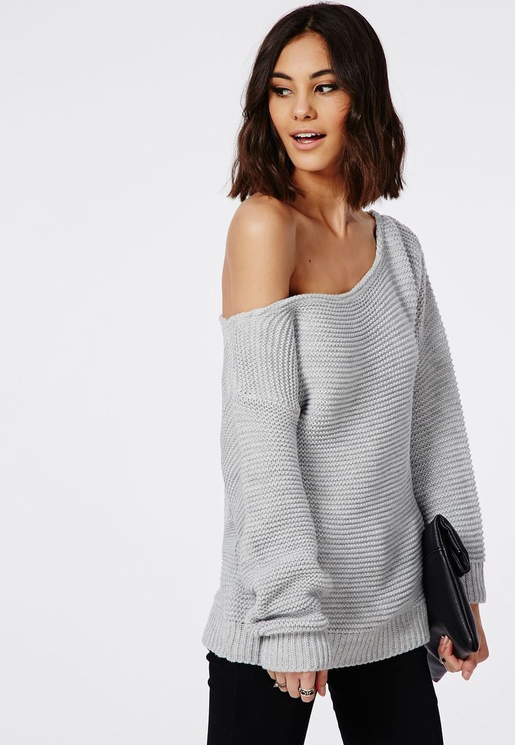 Missguided - Off Shoulder Ripple Stitch Sweater Light Grey