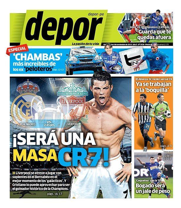 La Portada Impresa Depor del Dia 2014-11-04 del mejor diario deportivo del Peru y el Mundo en #Depor