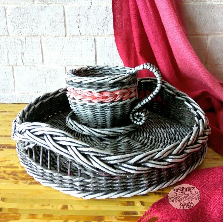 Плетеный поднос и чашка. Vk.com/paper_web