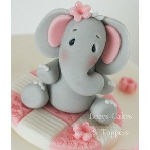 Girls Elephant Cake Topper
