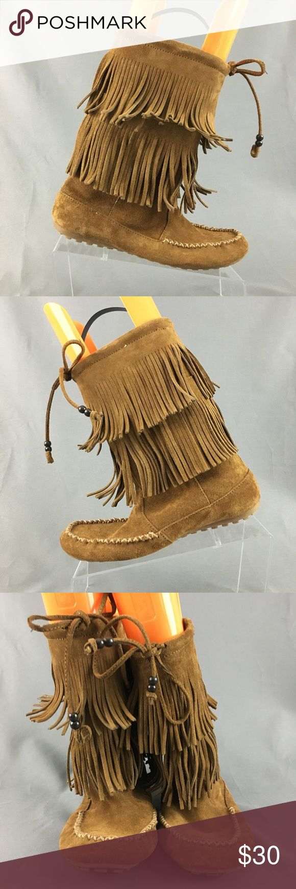 Minnetonka suede leather knee high tall lace up moccasin fringe boots - Minnetonka Women S Fringe Leather Moccasin Boots