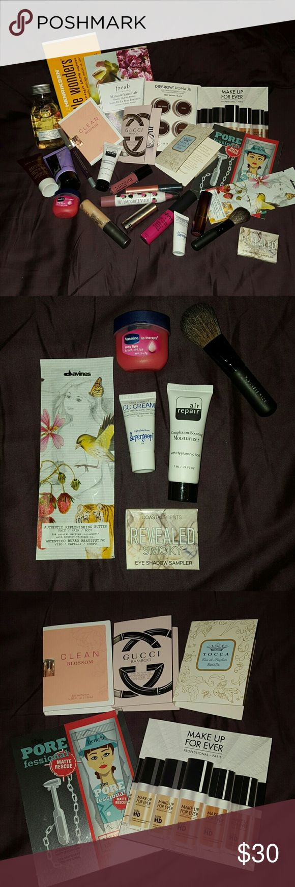 High end Make-up & Fragrance  Sample Bundle Several samples from Birchbox, Sephora, and Ulta. Majority are brand new! Few have been tested and cleaned. Brands: Ole Henriksen, Urban Decay, Anastasia Berry Hills, Fresh, Tarte, Benefit, Tocca, Gucci, Fresh, Make Up For Ever, Nuxe, Davines, and Wish. Includes Sephora Play! bags. Sephora Makeup