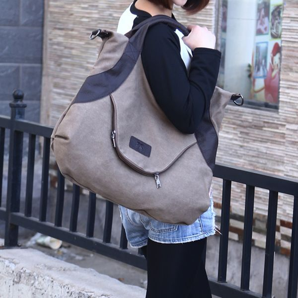 Women Canvas Casual Large Pocket Handbag Leather Handle Shoulder Bag Crossbody Bag