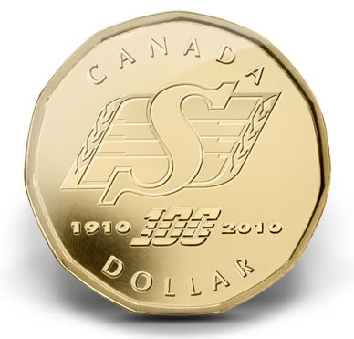 Canadian dollar (loonie) commemorating 100 years of Saskatchewan Roughrider Football