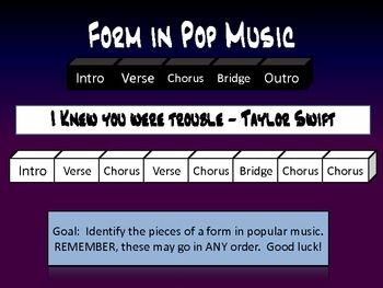 Identify form in pop music.  Great activity for upper elementary school, 4th and 5th grade.  Kids get to listen to their favorite songs while deciphering musical form.  Win-win!