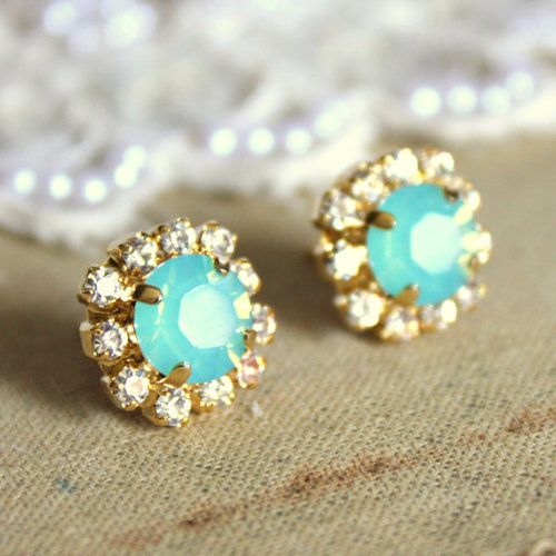 yesss: Crystals Studs, Mint Earrings, Studs Earrings, Jewelry, Something Blue, Hair Sliding, Posts Earrings, Gold Studs, Gold Earrings