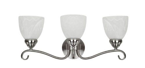 Chloe Lighting CH0191-BN-BL3 Transitional 3-Light Brushed Nickel Bath Vanity Wall Fixture with 21.5-Inch Wide Alabaster Glass by Chloe Lighting. $79.54. The Harmonic Symphony will whisk the imagination to a melodic time providing a musically inspired theme. This piece is perfect for receiving and entertaining purposes, and will bring a feel of high class and dazzle into your room.