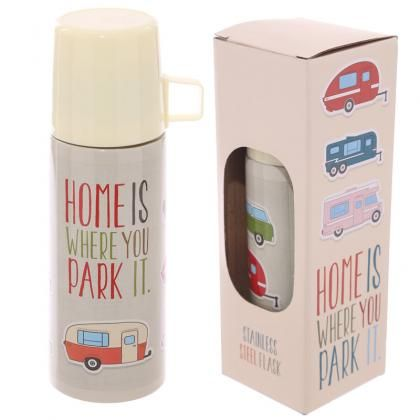 Nerezová termoska 350ml, design Karavan - Home Is Where You Park It #termoska #flask #giftsforhim #giftideas