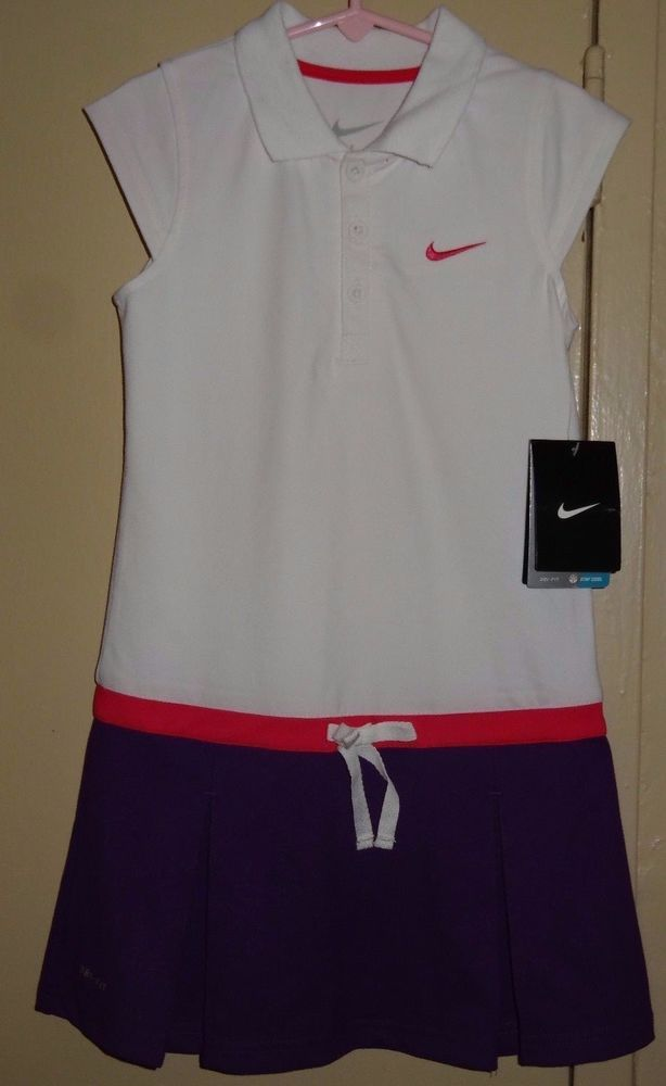 NIKE White Pink Purple Girls Size 6 Dri Fit Stay Cool Tennis Dress NWT New Tags #Nike #Dress #Everyday