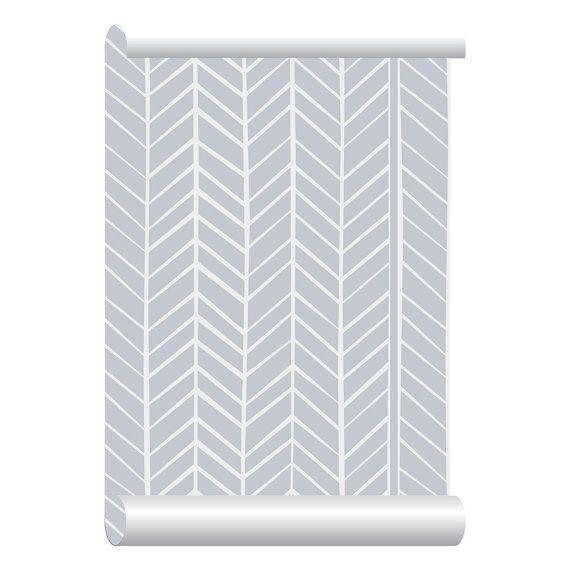 Self-adhesive Removable Wallpaper, Herringbone Grey Wallpaper, Peel and Stick Repositional Fabric Wallpaper, Custom Design Wall Mural
