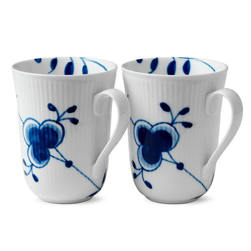 Blue Fluted Mega Mug, set of 2 by Royal Copenhagen