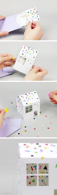Une idée originale - Une carte qui s'ouvre et qui devient une petite maison... pour une invitation.... A détourer pour découper sur votre Silhouette.