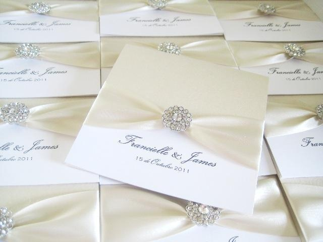 Ivory luxury elegant wedding invitations