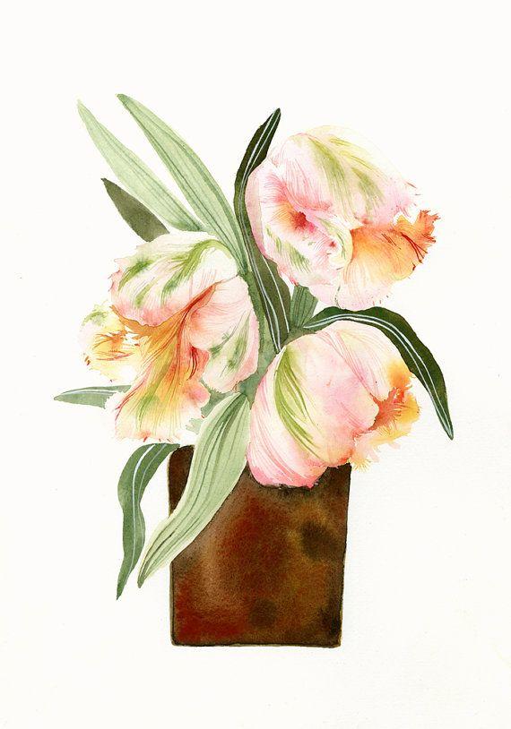 Impression de tulipes perroquet par amberalexander sur Etsy