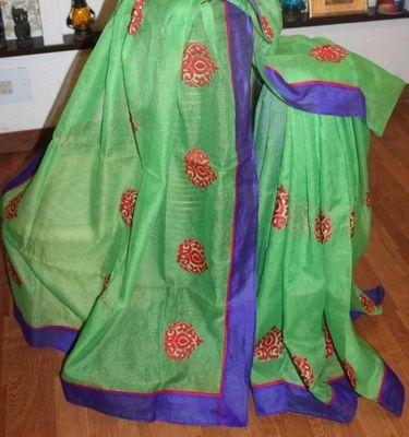 Green With Red Kota Cotton Saree Cotton Sarees