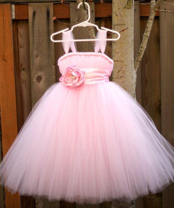 Light Pink Flower Girl Tutu Dress with Flower Sash