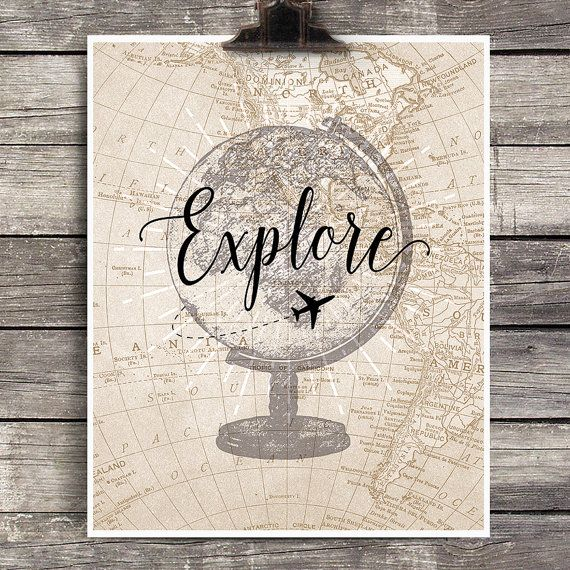 Vintage Globe Explore Print, Vintage Airplane Decor, Explore Map Wall Decor, Vintage Map Art, Gift for Pilots, Travel Theme Home Decor